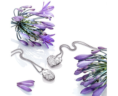 Stříbrný oválný náhrdelník s diamantem Memories Locket DP773