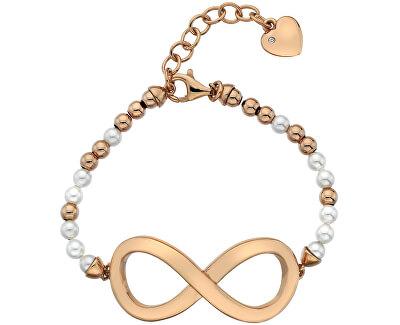 Hot Diamonds Luxusní náramek s perlami a diamantem Infinity DL536