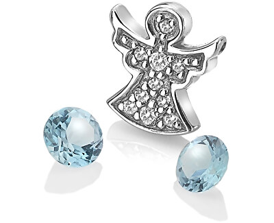 Stříbrný element andělíček s modrými topazy Anais AC104