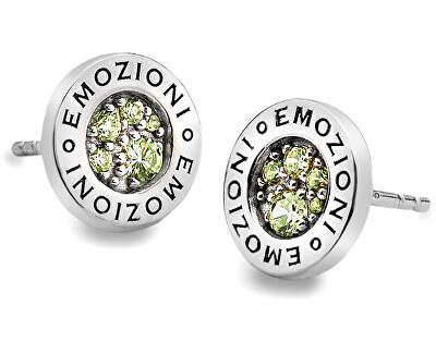 Hot Diamonds Strieborná náušnice Emozioni scintilla Peridot Nature EE004