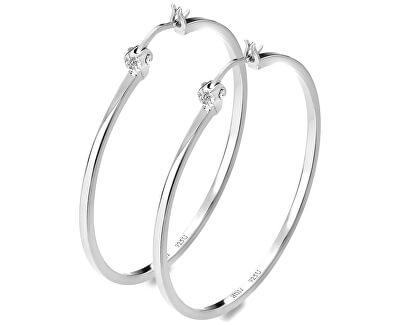 Stříbrné kruhové náušnice s diamanty Hoops DE626