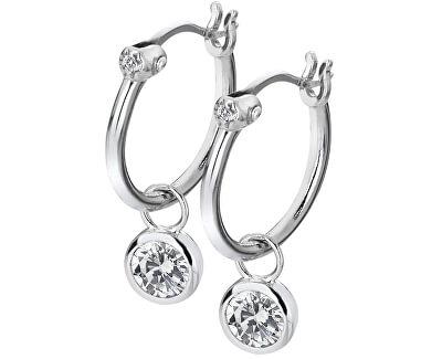Stříbrné kruhové náušnice s diamanty Hoops Topaz DE6278