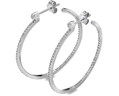 Stříbrné kruhové náušnice s diamanty Hoops Topaz DE624
