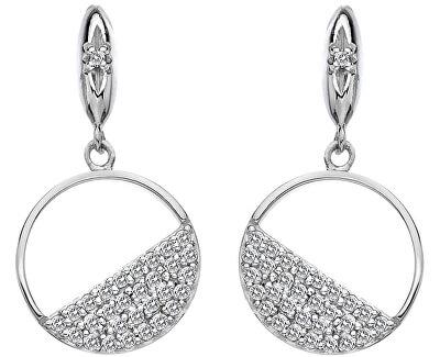 Stříbrné kruhové náušnice s diamanty Horizon Topaz DE621
