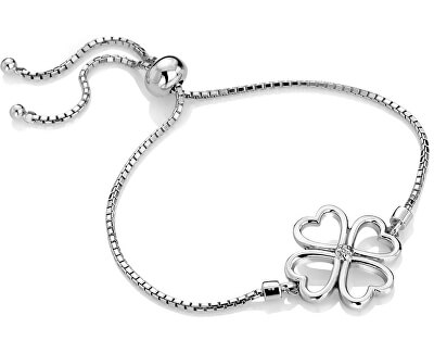 Stříbrný čtyřlístkový náramek s diamantem Lucky in Love DL603