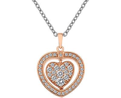 Hot Diamonds Stříbrný náhrdelník Hot Diamonds Turning Heart Rose Gold DP607