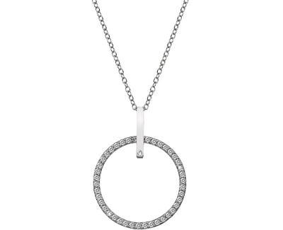 Stříbrný náhrdelník s pravým diamantem Flora DP718 (řetízek, přívěsek)