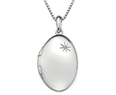 Hot Diamonds Stříbrný náhrdelník Hot Diamonds Memoirs Oval Locket DP493