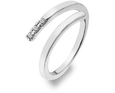 Hot Diamonds Stříbrný prsten se zirkony a diamantem Glide DR173