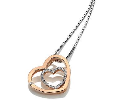 Stříbrný srdíčkový náhrdelník Adorable Encased DP692 (řetízek, přívěsek)