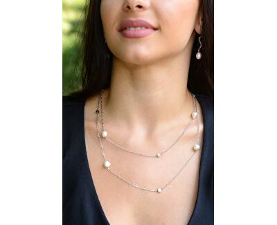 Dlouhé stříbrné náušnice Had s perlou a zirkony JL0396