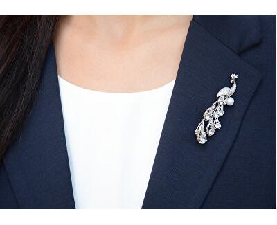 Elegantní brož Páv s pravou perlou a krystaly JL0390