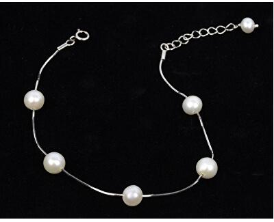 Jemný náramek z pravých bílých perel JL0173
