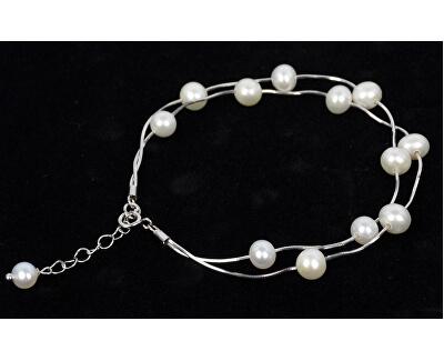 Jemný náramek z pravých bílých perel JL0174