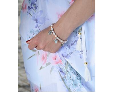 Jemný náramek z pravých perel s ozdobami JL0295