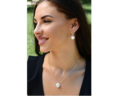 Stříbrný náhrdelník s pravou perlou JL0404 (řetízek, přívěsek)