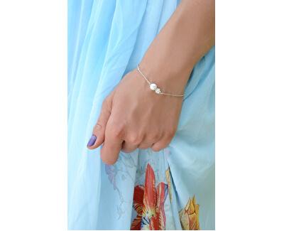 Stříbrný náramek s pravou perlou a krystalem JL0315