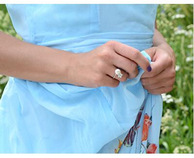 Stříbrný prsten s pravou perlou a čirými krystaly JL0322
