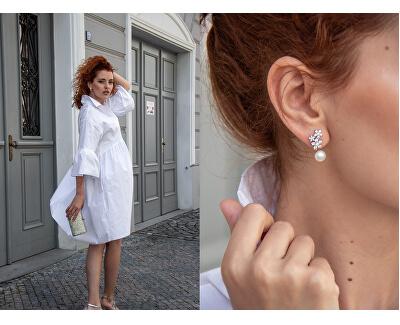 Asymetrické náušnice - dvojnáušnice s pravou bílou perlou a záušnice se zirkony JL0260