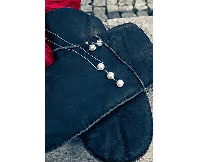 Módní náušnice ze stříbra s pravou perlou JL0401