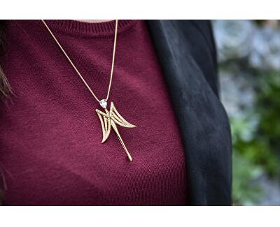 Pozlacená brož Anděl strážný s krystaly 2v1 JL0577