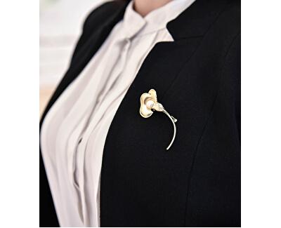 Pozlátená brošňa kvet s pravou perlou JL0511