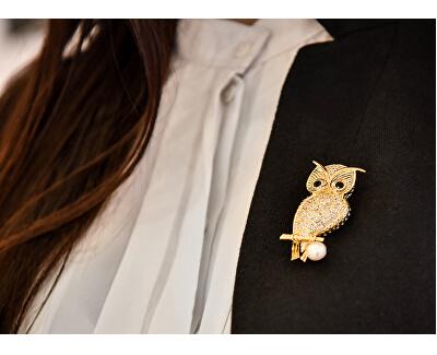Pozlacená brož sova s pravou perlou a krystaly JL0509