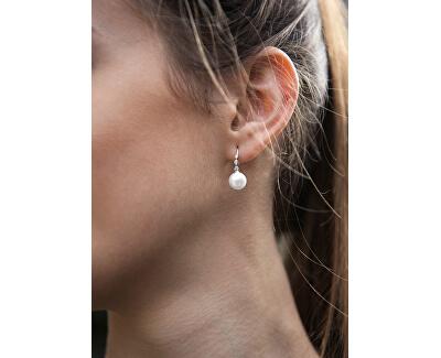 Slušivé náušnice s pravou perlou a zirkony JL0588