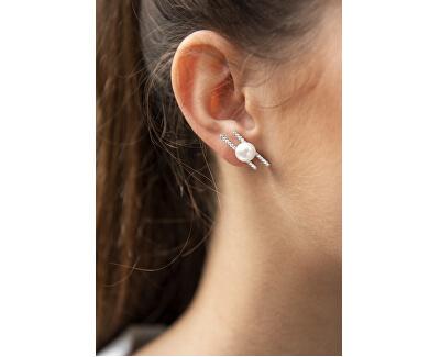 Stříbrné náušnice s pravou perlou a zirkony JL0581