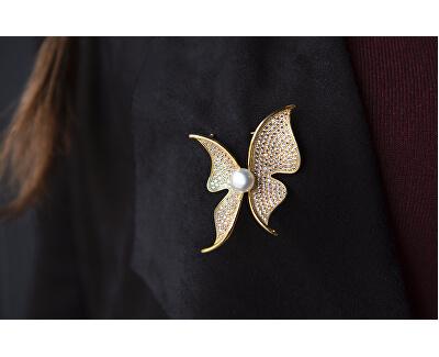 Třpytivá brož motýl s pravou perlou a krystaly JL0574