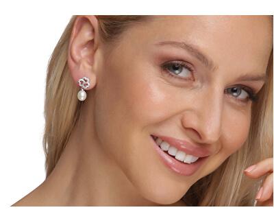 Trblietavé strieborné náušnice s perlou a zirkónmi JL0609