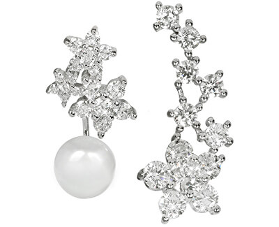 Asymetrické náušnice - dvojnáušnice s pravou bielou perlou a záušnice so zirkónmi JL0260