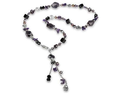 JwL Luxury Pearls Dlouhý náhrdelník s ametystem a pravými perlami JL0166