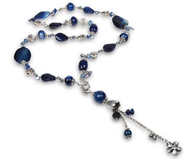 JwL Luxury Pearls Dlouhý náhrdelník s modrým achátem a pravými perlami JL0168