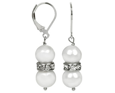 Elegantní náušnice s pravými bílými perlami a krystaly JL0278