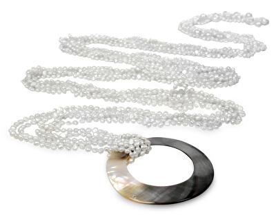 JwL Luxury Pearls Multifunkční dlouhý šál z bílých perel JL0239