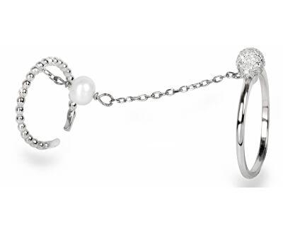 JwL Luxury Pearls Exkluzívny dvojprsten s perlou a zirkónmi JL0178