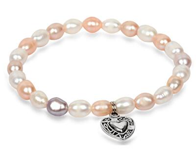 Jemný náramek z pravých perel s kovovým srdíčkem JL0293