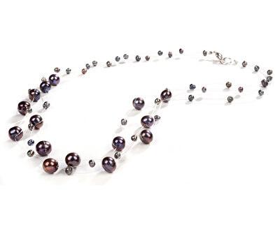 JwL Luxury Pearls Náhrdelník z levitujúich tmavých pravých perál JL0325