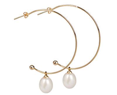 Pozlacené půlkruhové náušnice 2v1 s pravými perlami JL0298