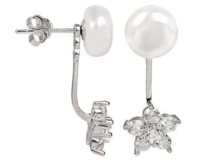 JwL Luxury Pearls Cercei două fețe din argint cu perlă reală albă și zirconiu JL0281