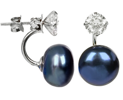 Stříbrné dvojnáušnice s pravou modrou perlou a krystalem JL0225