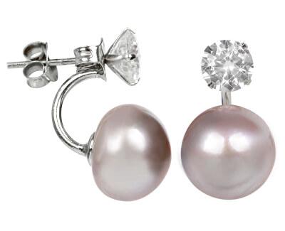 JwL Luxury Pearls Strieborné dvojnáušnice s pravou ružovou perlou a kryštálom JL0215