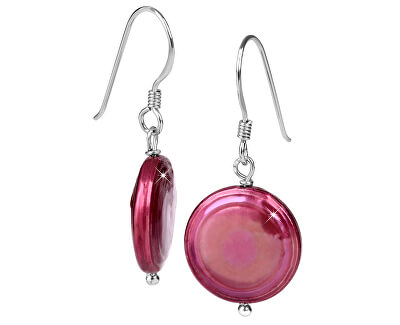 JwL Luxury Pearls Strieborné náušnice s pravou fuchsiovú perlou JL0301