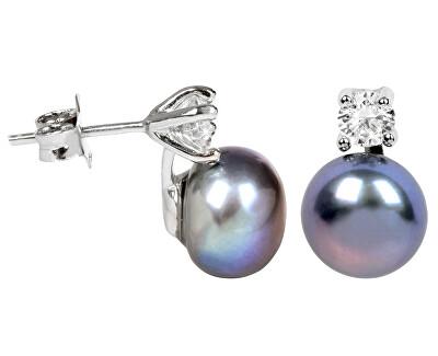 JwL Luxury Pearls Stříbrné náušnice s pravou kovově modrou perlou a krystalem JL0248
