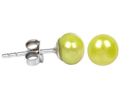 JwL Luxury Pearls Strieborné náušnice s pravou zelenou perlou JL0219
