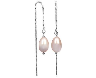 Stříbrné řetízkové náušnice s růžovou perlou JL0206