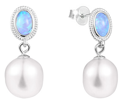 Luxusní náušnice s pravou barokní perlou a opálem JL0583