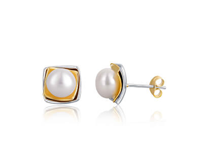 Bicolor strieborné náušnice s pravou perlou JL0622