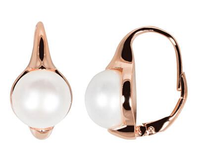 Bronzové náušnice s pravými perlami JL0533